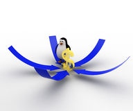 3d penguin with arrows point on golden dollar symbol concept Royalty Free Stock Photos
