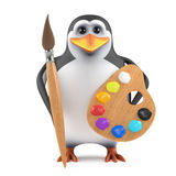 3d Penguin artist. 3d render of a penguin with paintbrush and palette Royalty Free Stock Images