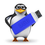 3d Penguin backs up his data on a USB memory stick Royalty Free Stock Photos