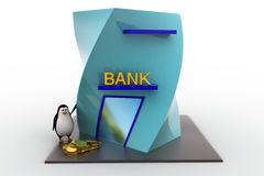 3d penguin with bank building and money coins concept Stock Photo