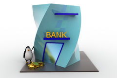 3d penguin with bank building and money coins concept Royalty Free Stock Photo