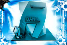 3d penguin with bank building and money coins illustration Royalty Free Stock Photos