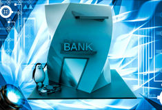 3d penguin with bank building and money coins illustration Stock Images