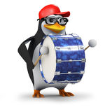 3d Penguin bass drum Stock Photo