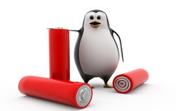 3d penguin with battery cells concept Royalty Free Stock Photo