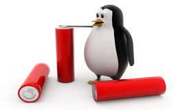 3d penguin with battery cells concept Royalty Free Stock Image