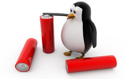 3d penguin with battery cells concept Stock Images