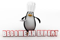 3d penguin with become an expert concept Royalty Free Stock Photography