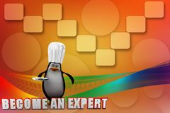 3d penguin with become an expert Illustration Royalty Free Stock Photos