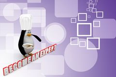 3d penguin with become an expert Illustration Stock Photography