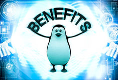 3d penguin with benefits text in hand illustration Stock Photo