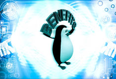 3d penguin with benefits text in hand illustration Royalty Free Stock Image