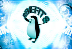 3d penguin with benefits text in hand illustration Stock Photos