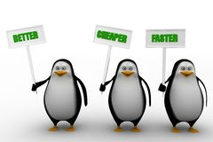 3d penguin with better cheaper faster Royalty Free Stock Image