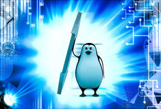 3d penguin with bidirection arrow illustration Stock Image
