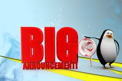 3d penguin with big announcement illustration Royalty Free Stock Images