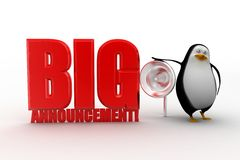 3d penguin with big announcement Stock Image