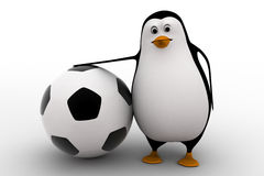 3d penguin with big football ball concept Stock Photography
