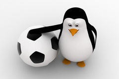 3d penguin with big football ball concept Royalty Free Stock Images
