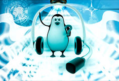 3d penguin with big headphone and holding question mark in hand illustration Royalty Free Stock Photography