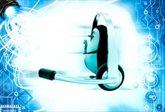 3d penguin with big headphone and holding question mark in hand illustration Stock Images