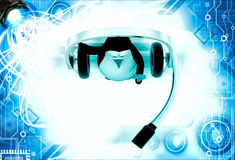 3d penguin with big headphone and holding question mark in hand illustration Stock Photos