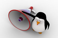 3d penguin  with big loud speaker concept Royalty Free Stock Images