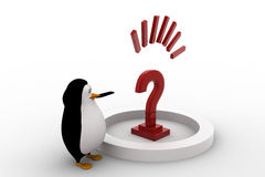 3d penguin with big red question mark concept Stock Photos