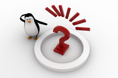 3d penguin with big red question mark concept Stock Photo