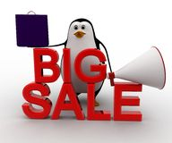 3d penguin big sale text and shopping bag and speaker concept Royalty Free Stock Photo