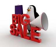 3d penguin big sale text and shopping bag and speaker concept Stock Photo