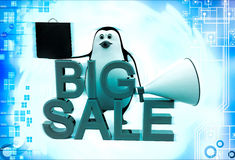 3d penguin big sale text and shopping bag and speaker illustration Royalty Free Stock Photo