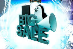 3d penguin big sale text and shopping bag and speaker illustration Stock Photo