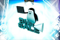 3d penguin big sale text and shopping bag and speaker illustration Royalty Free Stock Image