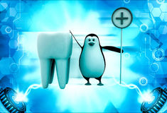 3d penguin with big teeth and medical sign illustration Stock Images