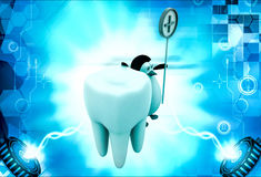3d penguin with big teeth and medical sign illustration Stock Photo