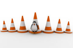 3d penguin with big traffic cones concept Stock Images
