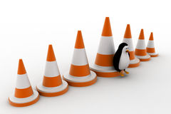 3d penguin with big traffic cones concept Royalty Free Stock Photo