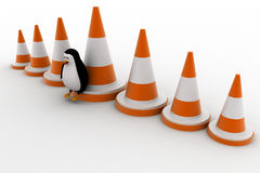 3d penguin with big traffic cones concept Stock Photo