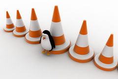 3d penguin with big traffic cones concept Stock Image