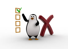3d penguin with big wrong symbol andwith check list concept Royalty Free Stock Photo