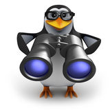 3d Penguin bird watcher with binoculars Stock Image