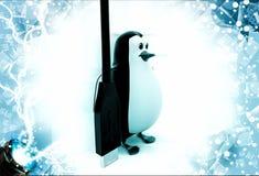 3d penguin with black oar illustration Stock Image