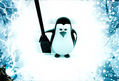 3d penguin with black oar illustration Royalty Free Stock Photography