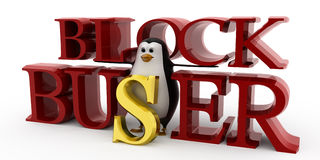 3d penguin blockbuster concept Stock Photo
