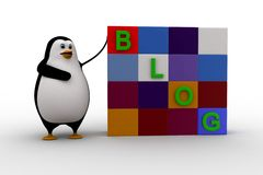 3d penguin with blog cubes concept Royalty Free Stock Photo