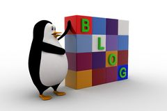 3d penguin with blog cubes concept Stock Photography