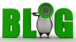 3d penguin with blog text concept Stock Image
