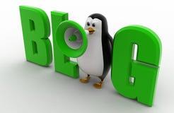 3d penguin with blog text concept Stock Photos