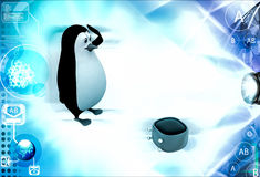 3d penguin with blue broken television illustration Royalty Free Stock Image